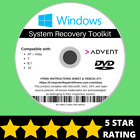 Advent Windows 10 8 8.1 7 Vista XP Recovery Repair Disc USB Reinstall Software