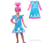 Girl Cartoon Trolls Poppy  Princess Funcy Dress Costume Wig Hair Cosplay Party image