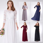 Ever-pretty US Lace Bridesmaid Dresses Long 3/4 Sleeve Backless Party Gown 07412