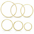 10k Yellow Gold Hoops Continuous Endless Hoop Earrings 1.25mm Wide ALL SIZES image