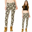 New Womens High Rise Jeans Slim Stretch Skinny Army Camouflage Trousers Pants