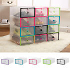 Plastic Clear Shoe Boot Box Stackable Storage Case Organizer Home Space Saver US