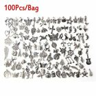 Wholesale 100pcs Bulk Tibetan Silver Mix Charm Pendants Jewelry Making DIY