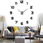 US Large Wall Clock Frameless DIY Number MIRROR Sticker Modern Decal Room Decor