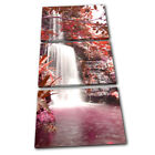 Waterfall Forest Red Landscapes TREBLE CANVAS WALL ART Picture Print