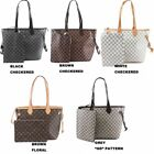 Women Fashion Large Celebrity Handbag Floral Checkered  2 in 1 Shoulder Bag