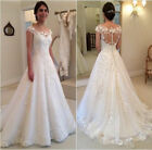 White Ivory A line Wedding Dresses 2018 Appliques Cap Sleeves Bridal Gown Custom