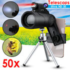 50X Monocular HD Zoom Camera Optical Lens Telescope +Light Clip Tripod For Phone