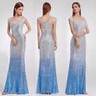 US Ever-Pretty Mermaid Bridesmaid Dresses Sky Blue Evening Sequins Gown 08999