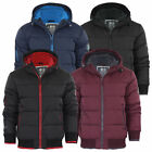 New Men's Crosshatch Awesent Padded Quilted Fleece Lined Hooded Zip Coat Jacket