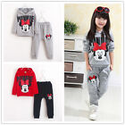 Girls Minnie Mouse Hoodie Coat Tops+Pants Set Kids clothes suits 2Pcs/set 2018