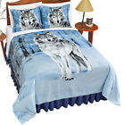 Winter Wolf Fleece Coverlet Blanket Lodge Décor, by Collections Etc image