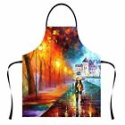 Dining Kitchen Apron for Women Men Oil paintings Baking Cooking Aprons by Zoodey