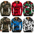 Men Slim Fit Long Sleeve Camo Muscle Tee T-shirt Casual Tops Polo Shirts Blouse