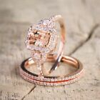 Luxury 3pcs/set Ring Champagne Crystal Rose Gold Filled Wedding Ring Size 6-10