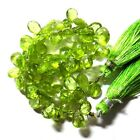 Semi Precious Peridot Bead Pear Shape Cut Natural Gemstone 97.00 Cts 1 line 10""