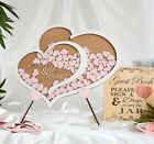 Personalised Wedding Party Guest Book Alternative Wooden Hearts Drop Jar Box