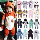 UK Canis Kids Baby Boys Girls Hooded One Piece Jumpsuit Romper Outfit Clothes