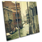 Venice Bridge Italy Shabby Chic  Vintage TREBLE CANVAS WALL ART Picture Print