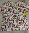 Dr Seuss Scrub Top The Grinch Women's Naughty Nice Christmas Cotton V Neck NWT