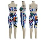 Women Two Piece Set Strapless Crop Top  Shorts Outfits Sexy Club Out Fit #JS4