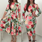 Women Summer Long Sleeve Floral Maxi Dress Party Beach Dress Floral Sundress