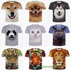2018 Fashion Womens/Mens 3D Printed Funny Cute Animal Face Casual T-Shirt Round