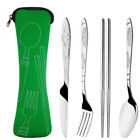 Portable Stainless Steel Cutlery Set 4 Piece Knife Fork Spoon Chopsticks Travel