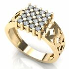 3 ct Mens 10K Gold Round Real Diamond Cluster Fashion Filigree Engagement Ring