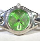 Quartz Green Butterfly Face Silver Tone Detailed Band Women's Analog Watch
