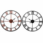 Vintage Large Outdoor Metal Wall Clock Roman Numeral Retro Garden Open Face