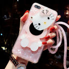 For iPhone XR XS Max 8 Cute Hello Kitty Mirror Bling Shell Case Cover & Lanyard