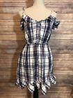 Obey Rare Womens Hand Craft Country Farm Spaghetti Summer Dress Plaid Size Small