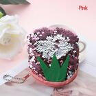 Mermaid Sequins Coin Purse Wallet For Women Fruits Pattern Reversible Color New