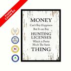 Paper money Can't Buy Happiness Shabby Chic White Quote Decorative Wall Art Put out
