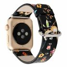 Colorful Bird Flower Print Leather Band for Apple Watch Series 1 2 3 Bracelet Wa