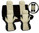 Two tone COMPLETE SET CAR SEAT COVERS +4 headrest swc and sbc black-tan