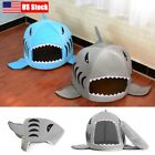 US Shark Pet Dog Nest Bed Puppy Soft Warm Cave Bed House Kennel Cat Mat Cushion