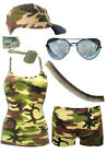Ladies Army Vest Hot Pants Bullet Belt Dog Tag Cap Camouflage Boot Camp Fun Run