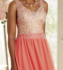 Ashro Coral Formal Antionette Beaded Gown Dress Party Ball 6 8 10 12 14 16 16W