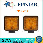 5D+ 27W Square LED Work Light Off-Road Ford Fog Tractor Yellow Flood Amber 4x4WD