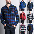 Men's Plaid Checkers Long Sleeve Woven Cotton Blend Flannel Shirt   WFS-007-R8H $19.95 USD on eBay