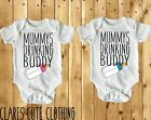 MUMMYS Drinking Buddy in Pink or Blue  BABY VEST/ GROW WHITE all sizes available