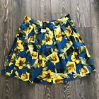 Dorothy Perkins Bright Blue & Yellow Floral Print Knife Pleated Skirt UK Size 18
