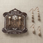 Jewel Stone and Pearl Brass Set of 3 Assorted Womens Metal Fashion Earring Set