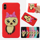 3D Cute Girl Owl TPU Soft Protective Phone Case Cover For iPhone XSMAX XR Xiaomi