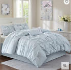 7 Piece Luxury Queen King Comforter Set Bun Blue image