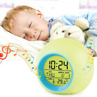 Morning Waking Light Alarm Clock Time Calendar Thermometer Bedside Night Lamp DN