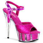 "6"" Hot Pink Glitter Clear Platform Stripper Shoes Mens Drag Queen High Heels"