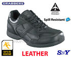 Grabbers Black Leather Slip Resistant Oxford Athletic Mens work shoes No Metal